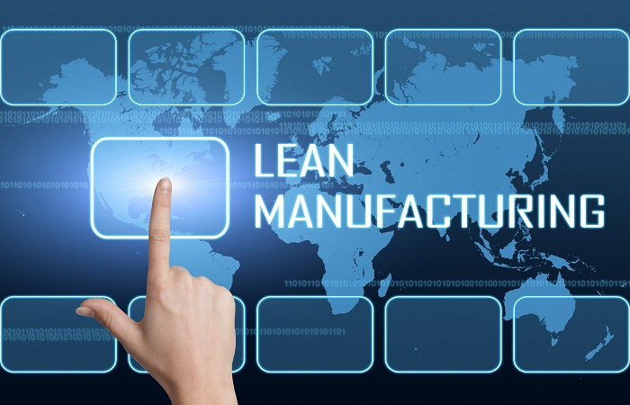 Lean Manufacturing concept with interface and world map on blue background
